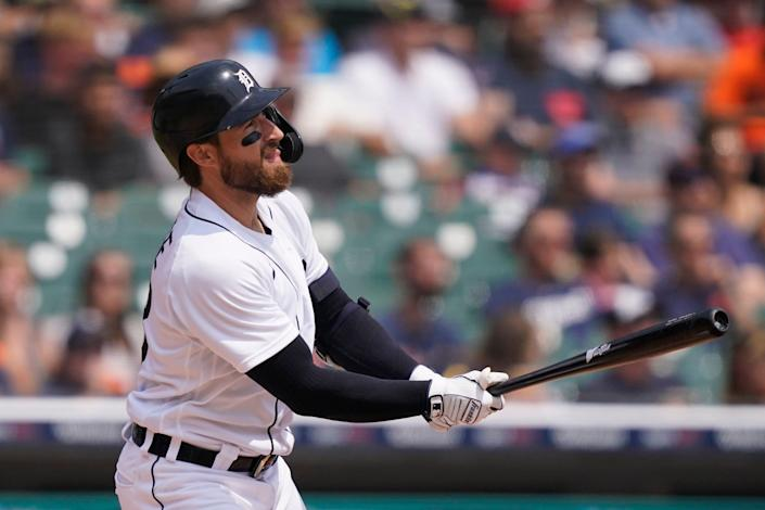 Tigers catcher Eric Haase connects for a two-run double to center during the first inning on Sunday, Aug. 1, 2021, at Comerica Park.