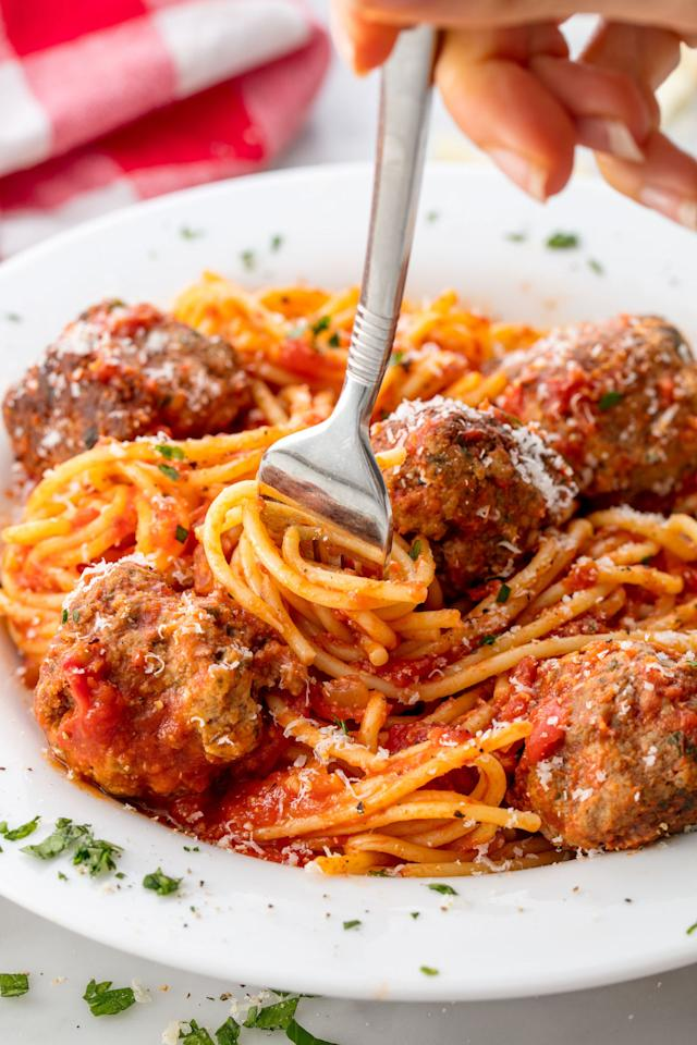 """<p>Making your own meatballs and sauce makes it even better.</p><p>Get the recipe from <a rel=""""nofollow"""" href=""""http://www.delish.com/cooking/recipe-ideas/recipes/a55764/best-spaghetti-and-meatballs-recipe/"""">Delish</a>.</p>"""
