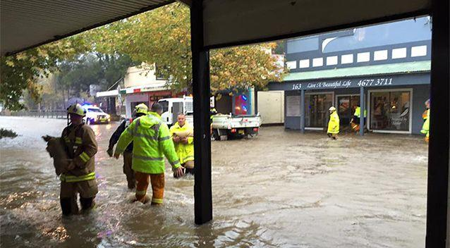 Businesses in Camden in Sydney fought a losing battle against rising floodwaters. Photo: Facebook/Country Bumpkin