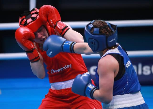 Great Britain's Rosie Eccles (red) in action against Russia's Saadat Dalgatova (blue) during day two of the Boxing Road to Tokyo 2020 Olympic qualifying event (Adam Davy/PA)