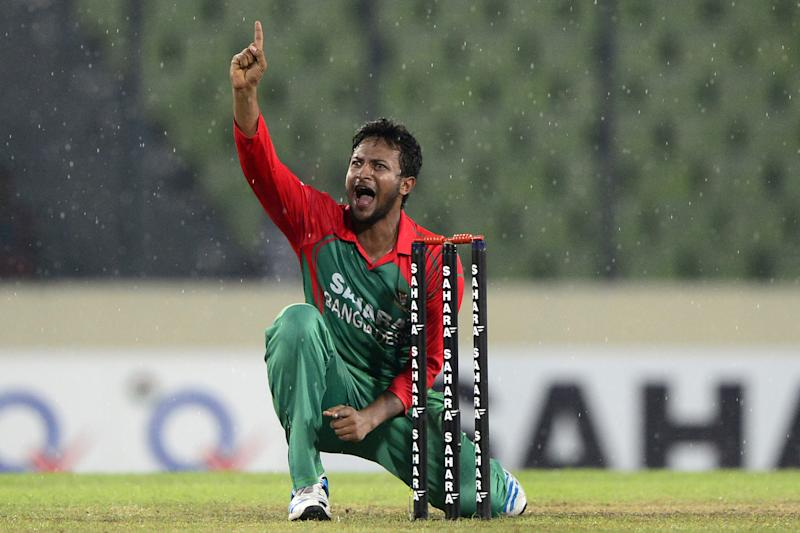 Bnagladesh all-rounder Shakib Al Hasan makes an unsuccessful appeal during a one-day international (ODI) between India and Bangladesh in Dhaka on June 19, 2014