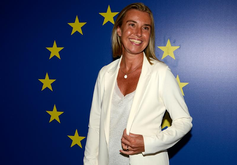 Italian Foreing Affairs Minister Federica Mogherini poses for a photo during an informal meeting of EU Foreign Affairs ministers on August 29, 2014 in Milan (AFP Photo/Giuseppe Aresu)