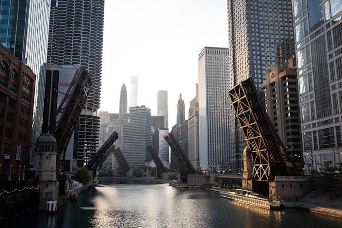 Bridges over the Chicago River are lifted after looting broke out overnight in the Loop and surrounding neighborhoods, Monday Aug. 10, 2020.
