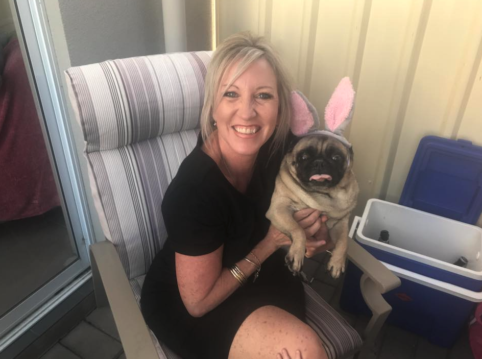 Katrina Wilks and her pug Louis. (Image: Supplied).