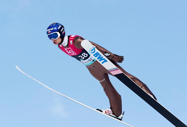 Ski Jumping - FIS World Cup - Men's HS240 Qualification - Vikersund, Norway - March 16, 2018 Maciej Kot of Poland in action. Terje Bendiksby/NTB Scanpix/via REUTERS ATTENTION EDITORS - THIS IMAGE WAS PROVIDED BY A THIRD PARTY. NORWAY OUT.