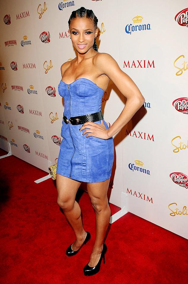 "Ciara sported cornrows for the event. The R&B siren came in at no. 32 on Maxim's Hot 100 list. Jason Merritt/<a href=""http://www.gettyimages.com/"" target=""new"">GettyImages.com</a> - May 13, 2009"