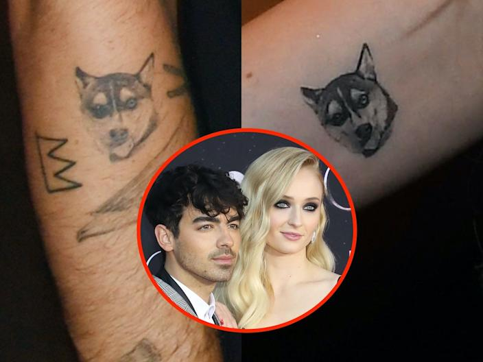 Joe Jonas and Sophie Turner have matching tattoos for their dog, Waldo.