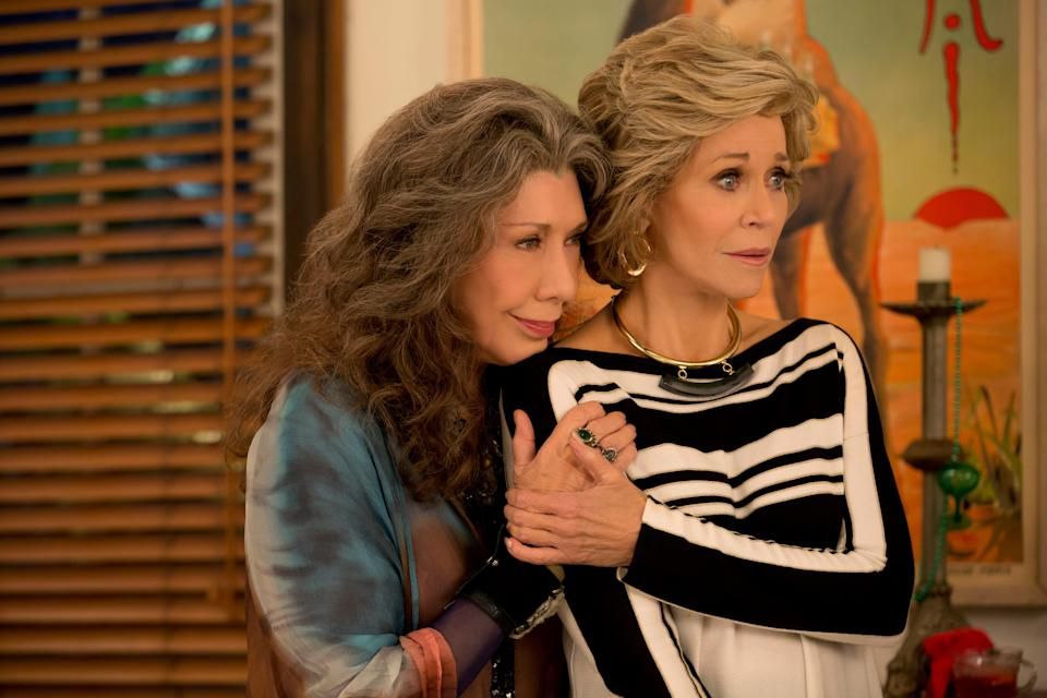'Grace and Frankie': Our protagonists (Lily Tomlin, left, and Jane Fonda) are still coping with the fallout of their husbands having married each other.