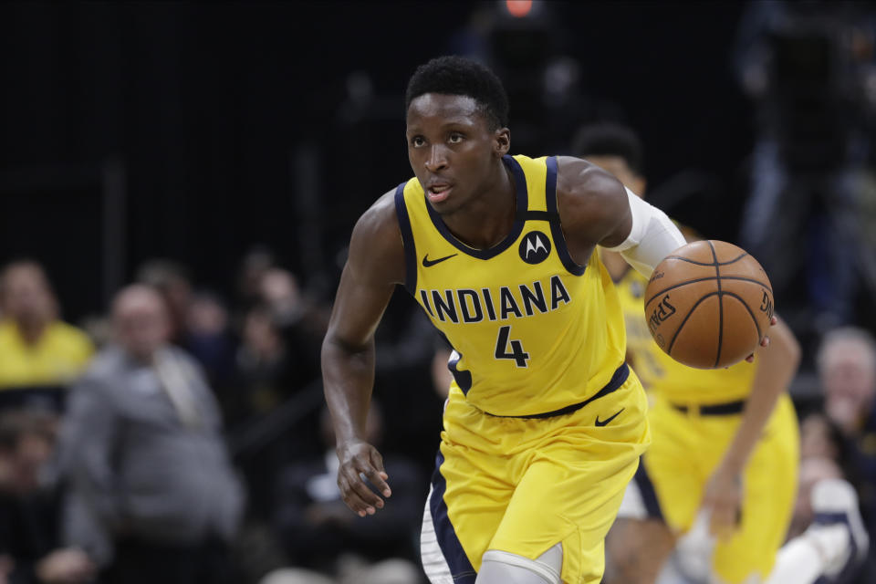Though he hasn't committed to playing, Victor Oladipo continues to sound like he's on the right track to joining the Indiana Pacers' lineup in Orlando. (AP/Darron Cummings)
