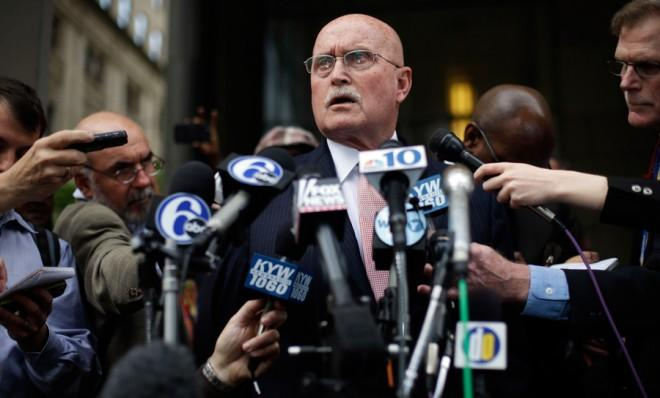 Kermit Gosnell's lawyer Jack McMahon speaks to reporters in Philadelphia after his client was found guilty.