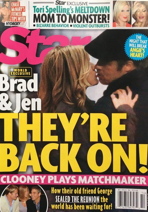A photo of Jennifer Aniston and Brad Pitt kissing has been published. Source: Star magazine