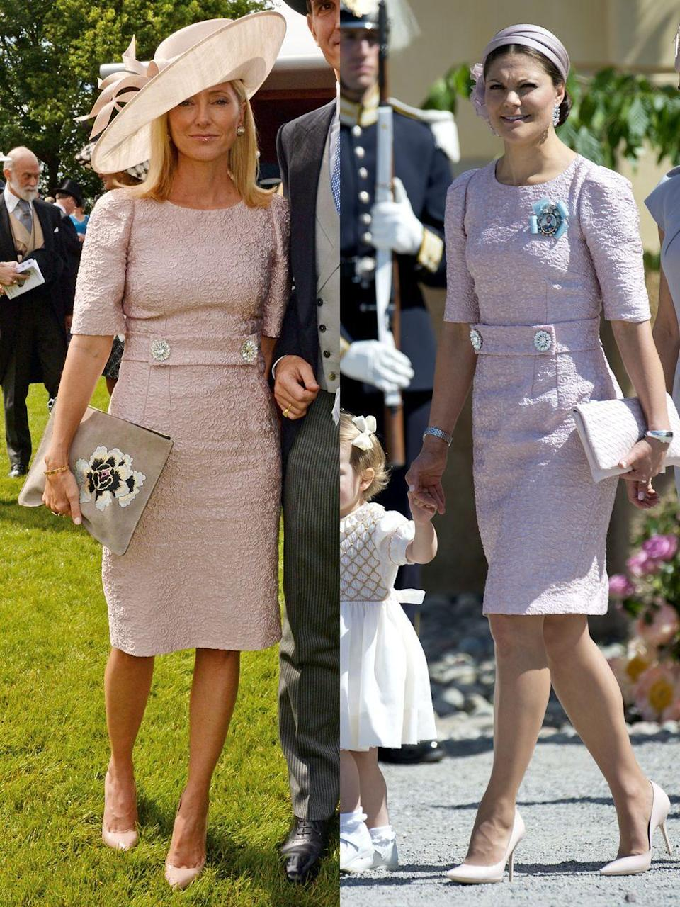 <p><strong>Left: </strong>Crown Princess Marie-Chantal of Greece attended Derby Day in Epsom, England wearing a pink Dolce and Gabbana dress with button accents.</p><p><strong>Right: </strong>Just days later, Sweden's Crown Princess Victoria wore the exact same style (though she opted for a less-striking topper) to Princess Leonore's christening. </p>