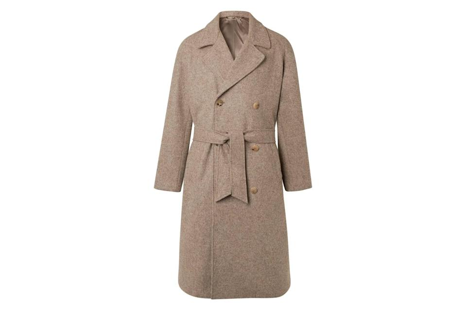 """Topcoats used to be about cutting an imposing figure, with strong shoulders and sharp lapels. These days, though, we're more drawn to coats like this one: softer around the edges, slouchier through the body, with a belt loosley tied around the waist for an extra bit of tossed-off sophistication.<br> <br> <em>De Bonne Facture double-breasted melange wool coat</em> $1565, Mr Porter. <a href=""""https://www.mrporter.com/en-us/mens/product/de-bonne-facture/clothing/winter-coats/double-breasted-melange-wool-coat/19971654707134793"""" rel=""""nofollow noopener"""" target=""""_blank"""" data-ylk=""""slk:Get it now!"""" class=""""link rapid-noclick-resp"""">Get it now!</a>"""