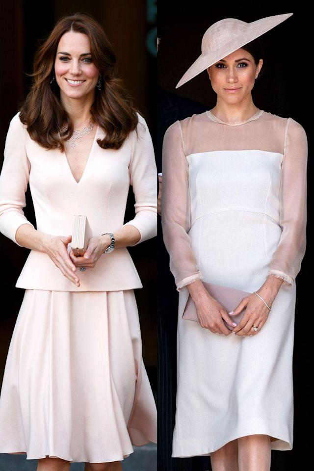 """<p>At <a href=""""https://www.cosmopolitan.com/entertainment/celebs/a20872110/meghan-markle-prince-harry-first-married-appearance/"""" rel=""""nofollow noopener"""" target=""""_blank"""" data-ylk=""""slk:Meghan's first official event after her wedding"""" class=""""link rapid-noclick-resp"""">Meghan's first official event after her wedding</a>, she went for a pale pink dress with a matching fascinator. Kate's worn similar colors before, like this dress she wore to the Vogue 100: A Century of Style exhibition, which featured two photos of her from her first <em>Vogue</em> spread. </p>"""