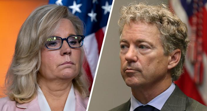 House Republican Conference chair Rep. Liz Cheney, R-Wyo. and Sen. Rand Paul (R-KY). (Photos: . Scott Applewhite/AP, Mark Wilson/Getty Images)