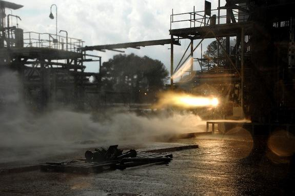 A 3D printed rocket part blazes to life during a hot-fire test.