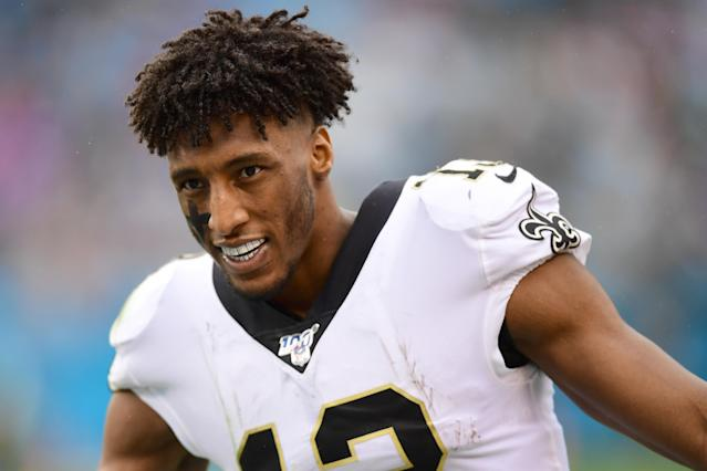 Saints wide receiver Michael Thomas clearly isn't over their loss to the Vikings last week. (Jacob Kupferman/Getty Images)