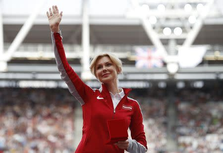 FILE PHOTO: Athletics - World Athletics Championships – women's long jump victory ceremony – London Stadium, London, Britain – August 6, 2017 – Ineta Radevica of Latvia is promoted from Bronze to Silver in the Long Jump discipline from Daegu 2011 REUTERS/Phil Noble
