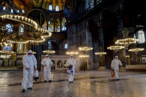 Turkey is stepping up virus measures, including disinfecting the Byzantine masterpiece Hagia Sophia