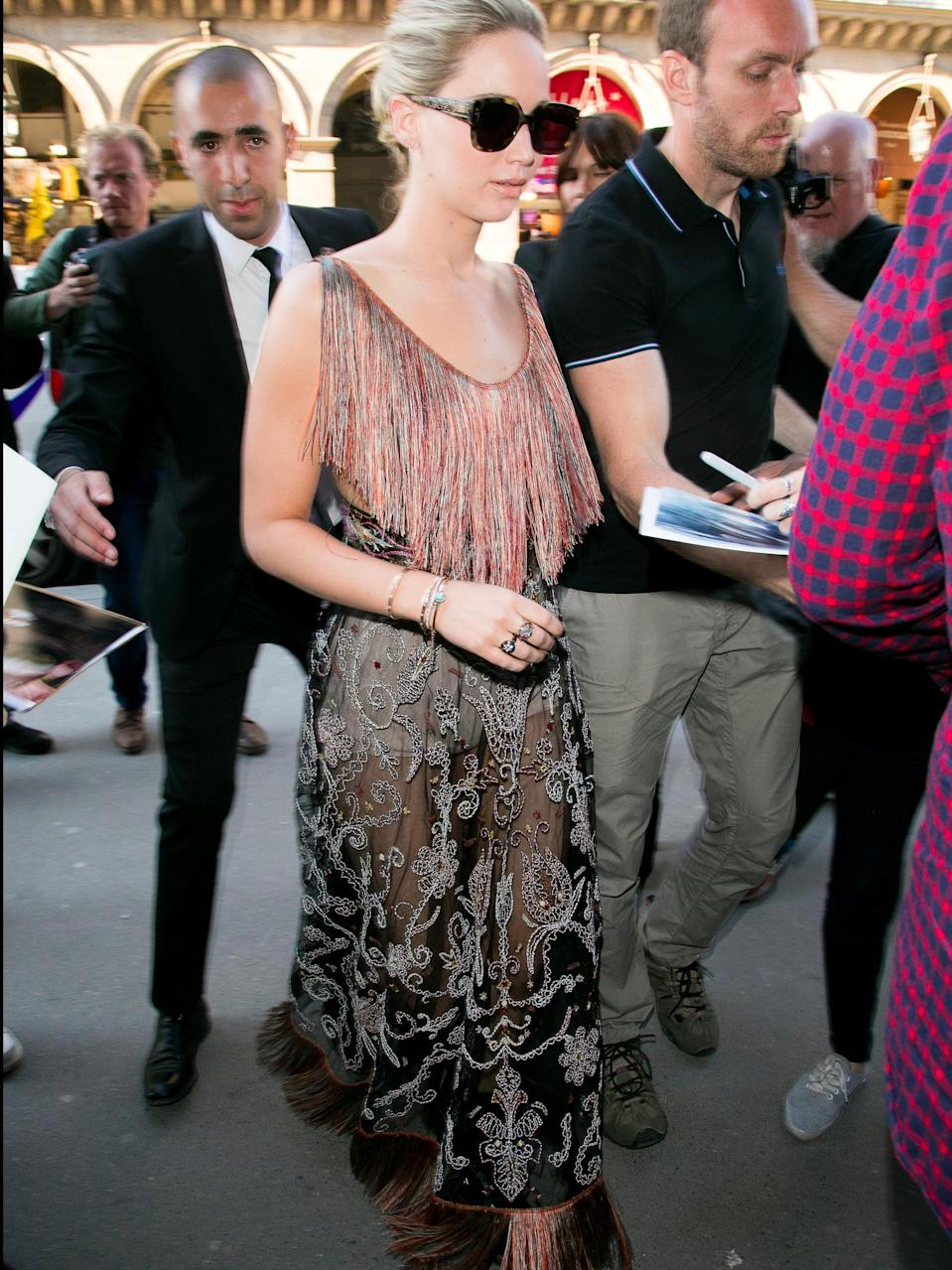 J-Law stepped out in this killer sheer skirt on Monday.
