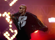 FILE- In this Oct. 1, 2011 file photo, DMX performs during the BET Hip Hop Awards in Atlanta. The late rapper will be honored at Sunday's BET Awards. (AP Photo/David Goldman, File)