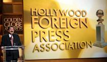 Jorge Camara, president of the Hollywood Foreign Press Association, gives a media conference to announce the Golden Globes winners in 2008 -- the gala was canceled over a strike by the Writers Guild of America