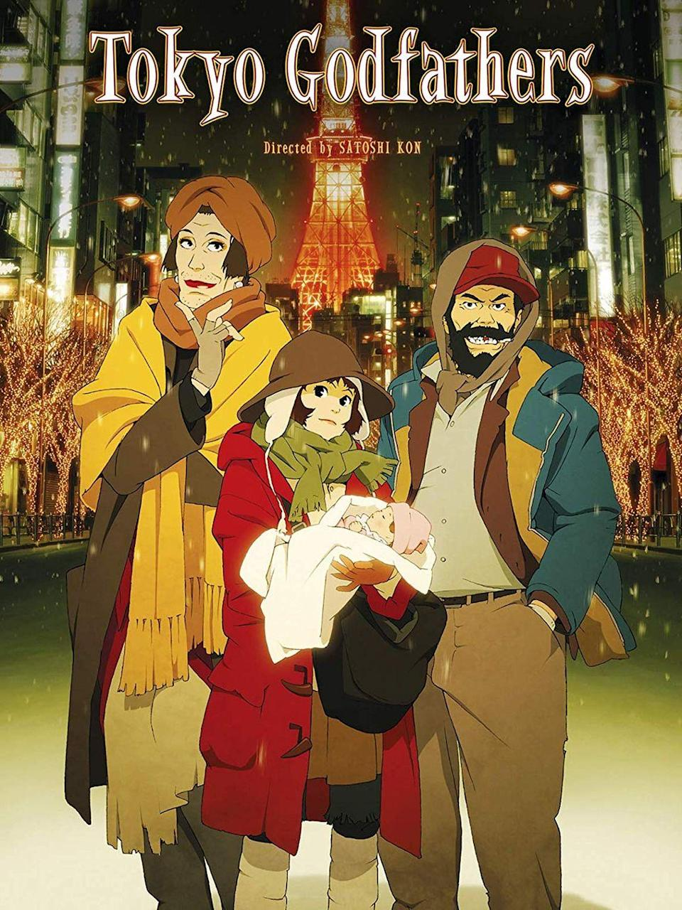 """<p>In this anime reinterpretation of the Nativity story, a homeless group in Tokyo stumbles across an abandoned baby on Christmas Eve. <em>Tokyo Godfathers </em>is a surprisingly funny tale of friendship, family, and the universal desire to belong.</p><p><a class=""""link rapid-noclick-resp"""" href=""""https://www.amazon.com/Tokyo-Godfathers-Sh%C3%B4z%C3%B4-%C3%8Ezuka/dp/B0001EFTVA?tag=syn-yahoo-20&ascsubtag=%5Bartid%7C10055.g.1315%5Bsrc%7Cyahoo-us"""" rel=""""nofollow noopener"""" target=""""_blank"""" data-ylk=""""slk:WATCH NOW"""">WATCH NOW</a></p>"""