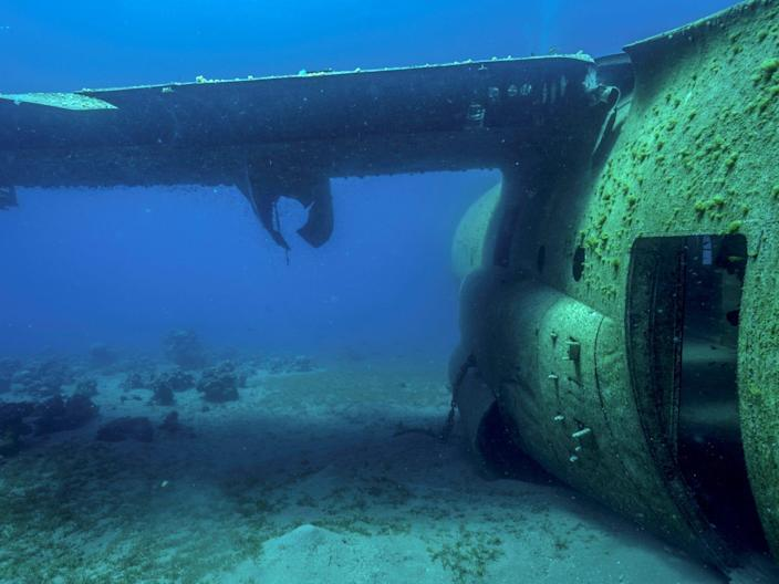 A hatch opens to the fuselage of a wrecked C-130 in the Red Sea in Jordan.