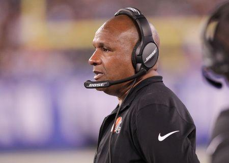 FILE PHOTO: Aug 9, 2018; East Rutherford, NJ, USA; Cleveland Browns head coach Hue Jackson looks on during the first half against the Cleveland Browns at MetLife Stadium. Mandatory Credit: Vincent Carchietta-USA TODAY Sports
