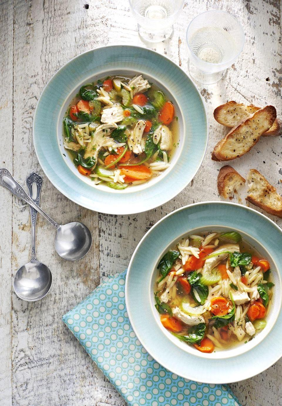 "<p>This chicken soup is sure to warm hearts and stomachs. Serve it with our easy recipe for garlic toast.</p><p><strong><a href=""https://www.countryliving.com/food-drinks/recipes/a190/lemony-chicken-dill-soup-recipe-clx0315/"" rel=""nofollow noopener"" target=""_blank"" data-ylk=""slk:Get the recipe."" class=""link rapid-noclick-resp"">Get the recipe.</a></strong></p>"