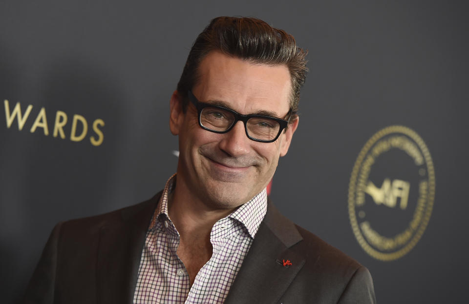 Jon Hamm arrives at the 2020 AFI Awards at the Four Seasons on Friday, Jan. 3, 2020 in Los Angeles. (Photo by Jordan Strauss/Invision/AP)