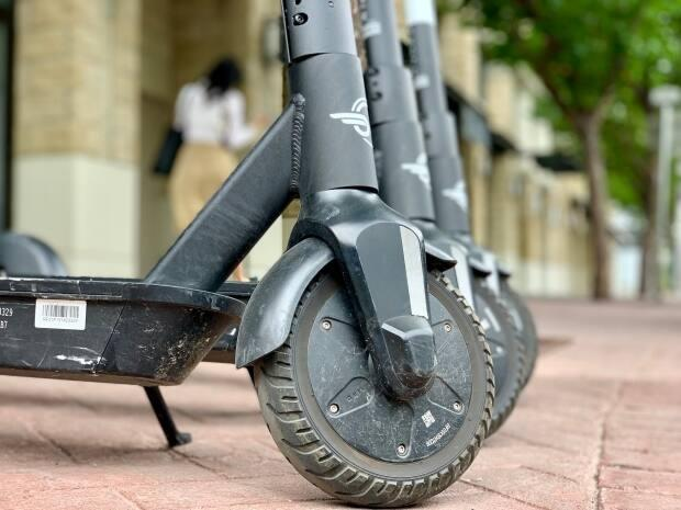 Enforcement officers will be looking for e-scooter misuse in downtown Edmonton and Old Strathcona this weeked. (Kyle Bakx/CBC - image credit)