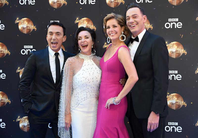 Shirley with her fellow 'Strictly' judges (l-r)Bruno Tonioli, Darcey Bussell and Craig Revel-Horwood. (Photo: Karwai Tang via Getty Images)