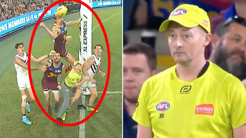 Seen here, the AFL goal umpire that became a cult hero in Brisbane's win over Fremantle.