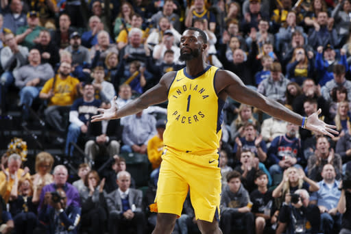 "The <a class=""link rapid-noclick-resp"" href=""/nba/teams/ind/"" data-ylk=""slk:Indiana Pacers"">Indiana Pacers</a>' <a class=""link rapid-noclick-resp"" href=""/nba/players/4771/"" data-ylk=""slk:Lance Stephenson"">Lance Stephenson</a> offers a chance to add an unusual stat profile for a shooting guard. (Photo by Joe Robbins/Getty Images)"