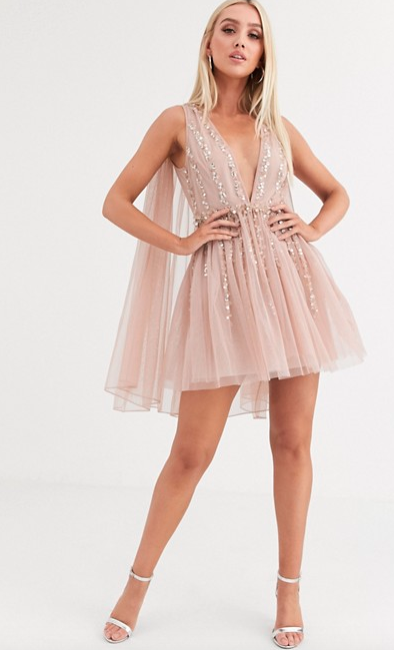 ASOS pink tulle cape dress