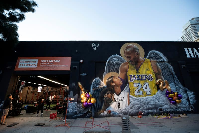 A mural of late Kobe Bryant, who perished one year ago alongside his daughter and seven others when their helicopter crashed into a hillside, next to a gym in Los Angeles