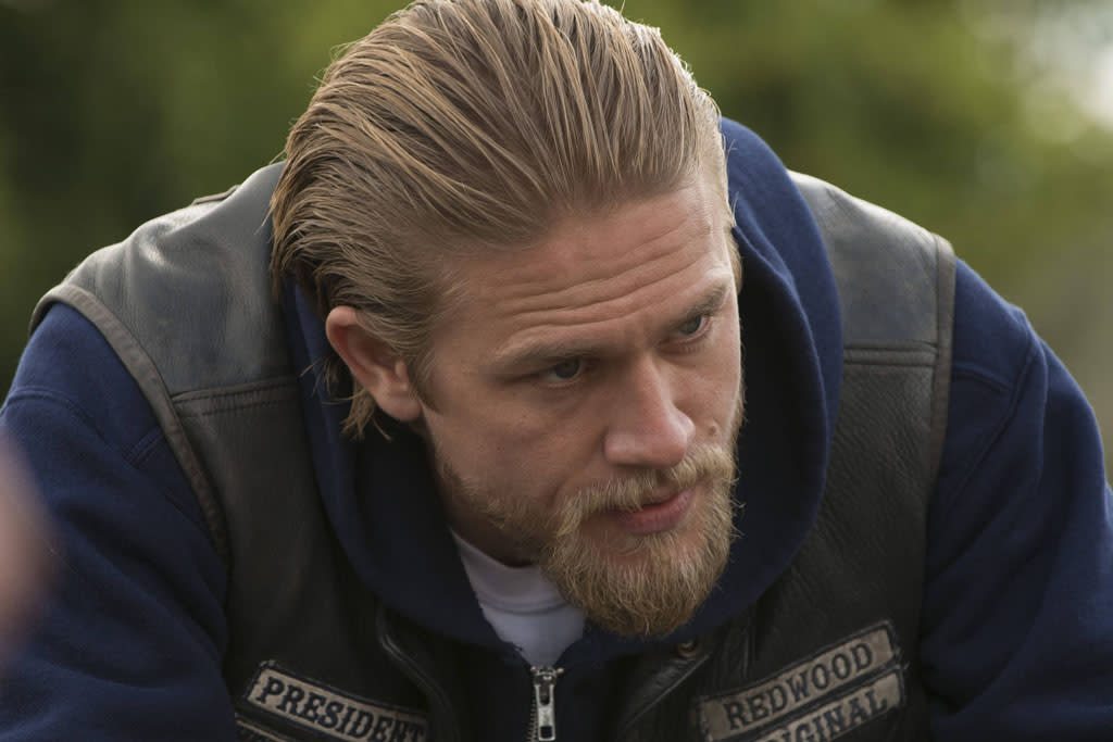 "Charlie Hunnam as Jackson 'Jax' Teller in the ""Sons of Anarchy"" episode, ""J'ai Obtenu Cette."""