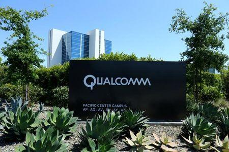 A Qualcomm sign is pictured at one of its many campus buildings in San Diego