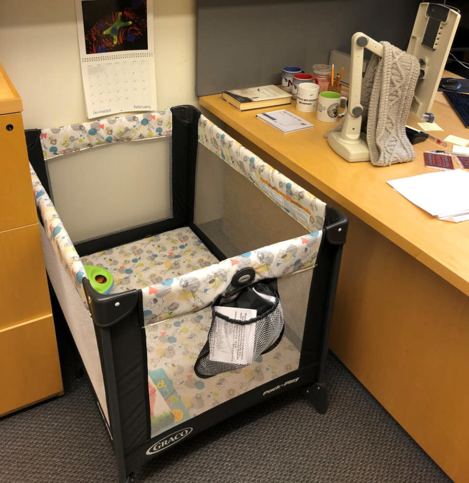 Littleton had placed a crib so that his graduate student can work while having her infant with her. — Picture via Twitter/TroyLittleton