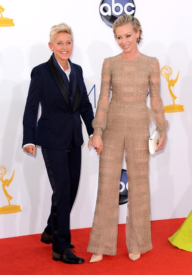 Ellen Degeneres (L) and actress Portia de Rossi arrive at the 64th Primetime Emmy Awards at the Nokia Theatre in Los Angeles on September 23, 2012.