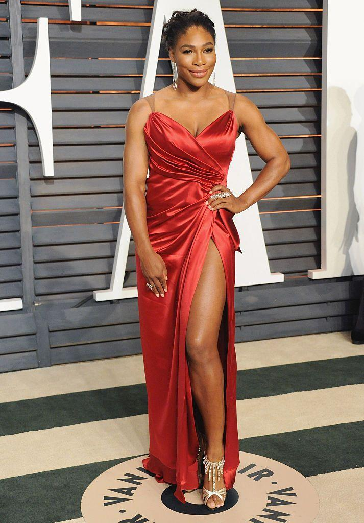 <p>Williams opted for an Angelina Jolie moment in this thigh-high split red dress by Ines Di Santo.</p>