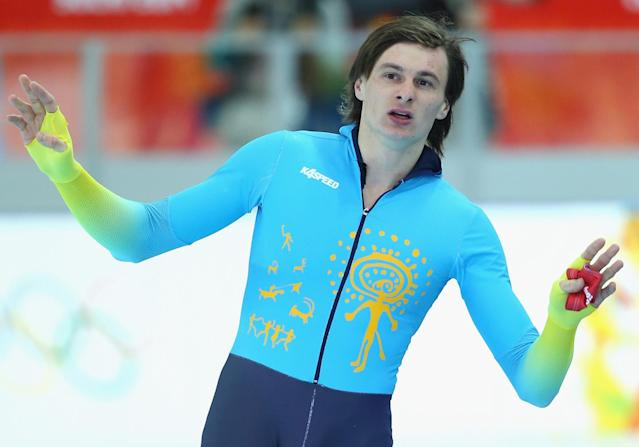 SOCHI, RUSSIA - FEBRUARY 12: Roman Krech of Kazakhstan competes in the Speed Skating Men's 1000m during day five of the Sochi 2014 Winter Olympics at Adler Arena Skating Center on February 12, 2014 in Sochi, Russia. (Photo by Robert Cianflone/Getty Images)