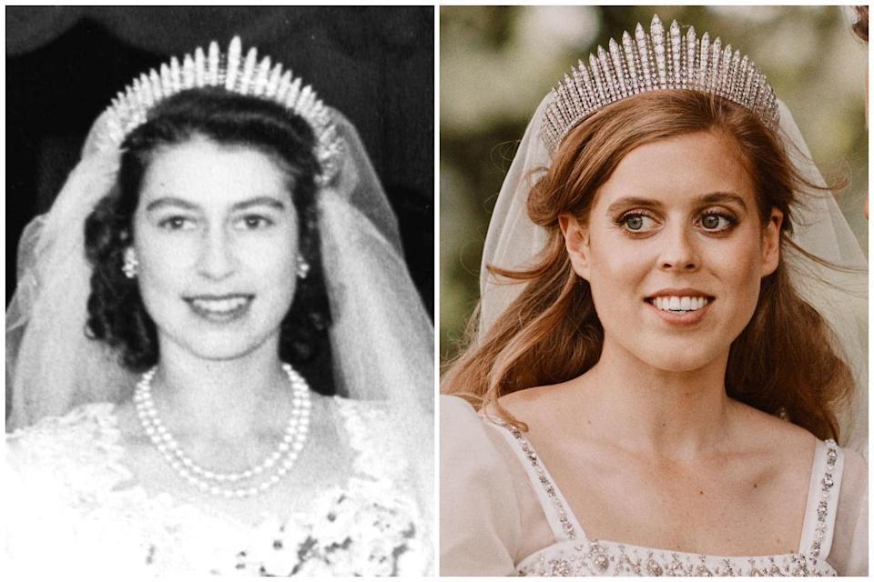 Then-Princess Elizabeth and Princess Beatrice on their wedding days (PA)