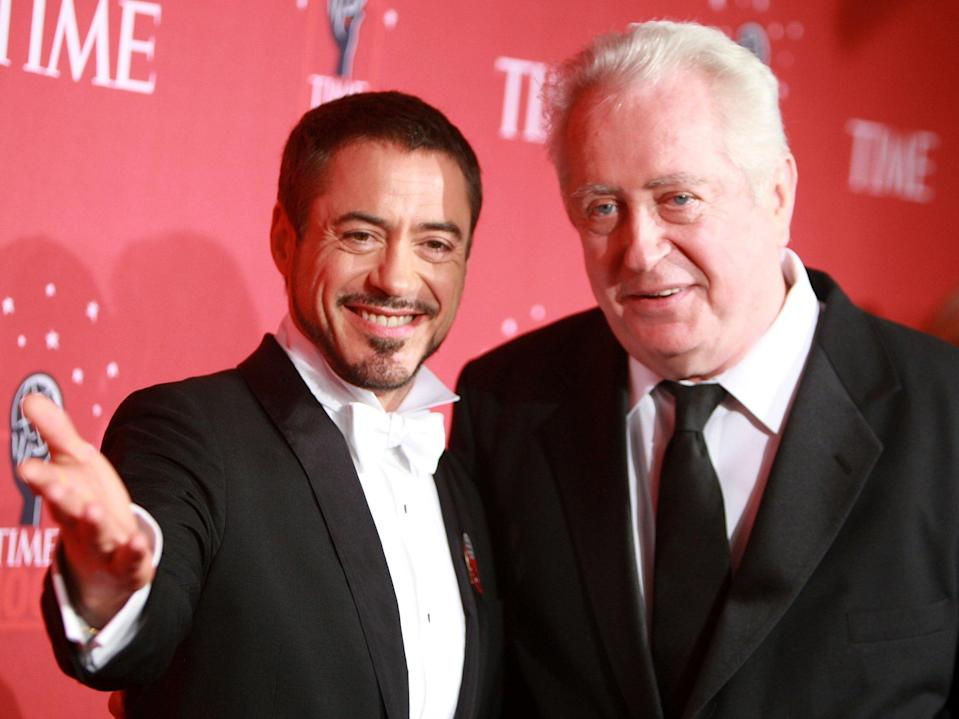 Actor Robert Downey Jr. and father Robert Downey Sr at TIME's 100 Most Influential People Gala on 8 May 2008 in New York City (Stephen Lovekin/Getty Images)
