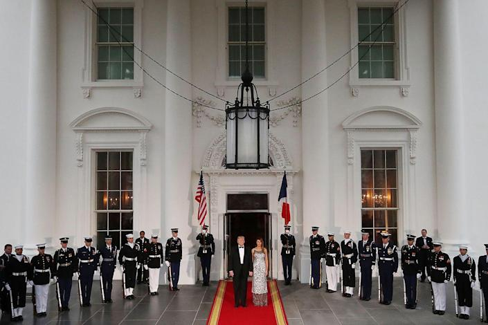 <p>The President and First Lady waited outside of the North Portico of the White House for French President Emmanuel Macron and French First Lady Brigitte Macron.</p>