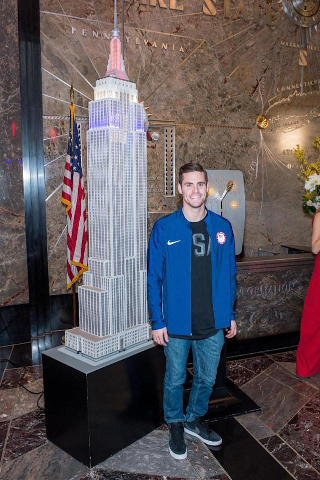 NEW YORK, NY - APRIL 27:  London 2012 Olympic champion in diving David Boudia attends as Team USA Athletes light the Empire State Building red, white and blue to celebrate the 100 day countdown to the Rio 2016 Olympic Games at The Empire State Building on April 27, 2016 in New York City.  (Photo by Roy Rochlin/Getty Images)
