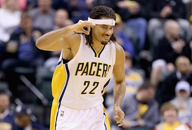 Chris Copeland of the Indiana Pacers, seen during a NBA game at Bankers Life Fieldhouse in Indianapolis, Indiana, on October 31, 2014 (AFP Photo/Andy Lyons)