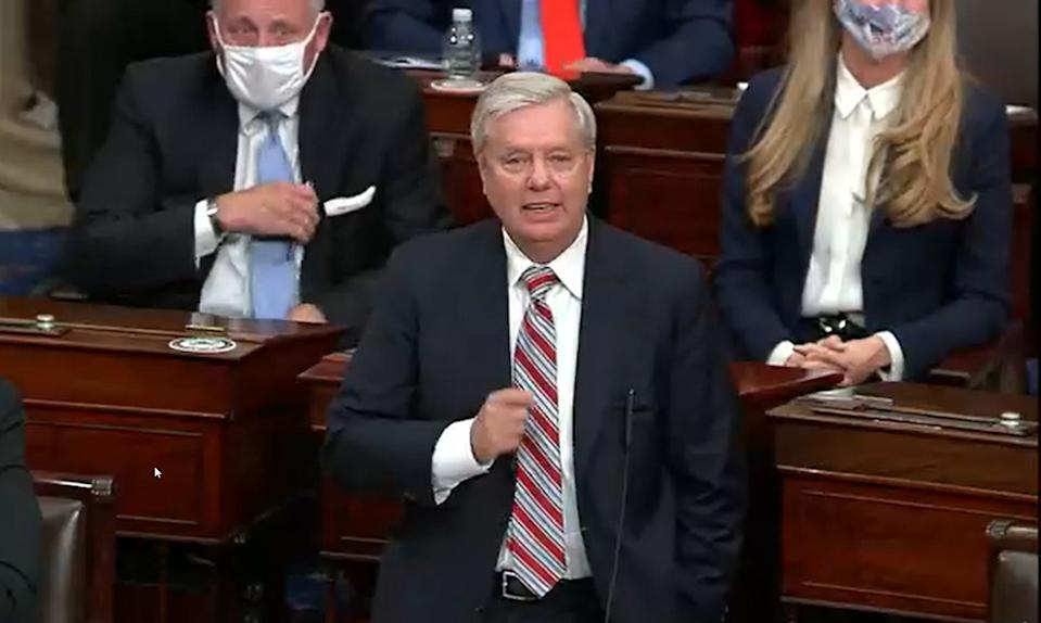 WASHINGTON, DC - JANUARY 6: In this screenshot taken from a congress.gov webcast, Sen. Lindsey Graham (R-SC) speaks during a Senate debate session to ratify the 2020 presidential election at the U.S. Capitol on January 6, 2021 in Washington, DC. Congress has reconvened to ratify President-elect Joe Biden's 306-232 Electoral College win over President Donald Trump, hours after a pro-Trump mob broke into the U.S. Capitol and disrupted proceedings.  (Photo by congress.gov via Getty Images)