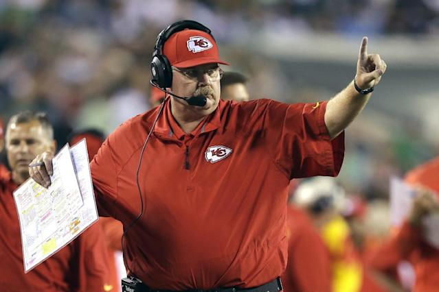 Kansas City Chiefs coach Andy Reid calls a play during the second half of an NFL football game against the Philadelphia Eagles, Thursday, Sept. 19, 2013, in Philadelphia. (AP Photo/Matt Rourke)